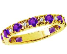 14K Yellow Gold Amethyst Darling Quarter Stack Ring with Diamonds