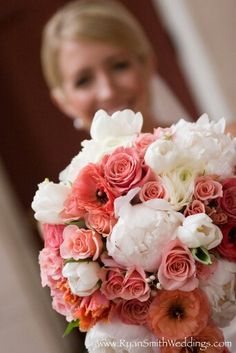 {Pretty Bouquet Featuring: White Peonies, Tulips, Ranunculus, Pink & Coral Roses, Pink/Coral Anemones, & Green Foliage······································}