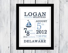 Birth Announcement Print  Nautical Themed Choose colors and clip art Boy or Girl