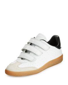 S0F2Y Isabel Marant Beth Pinked-Trim Grip-Strap Sneaker, White