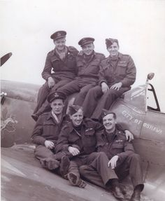 WWII Canadian spitfire pilots (Squadron 416). The pilot in the front, middle is still alive.