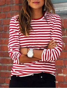 Rood wit lange mouwen shirt M