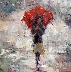 """Red Umbrella Rain"" by Gina Brown   6.75 x 6.75, oil on linen    https://www.facebook.com/photo.php?fbid=489641724382118=a.127951723884455.21588.114273961918898=3"
