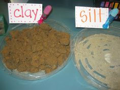 Types of soil investigation: comparing clay, silt, and sand. Extension worksheet involves students labeling and drawing types of soil, describing what it looks like, as well as describing what it feels like.