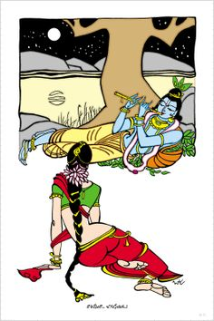 Krsna playing for Radha Krishna Statue, Krishna Art, Indian Folk Art, Indian Artist, Indian Illustration, Art Painting Gallery, Beautiful Sketches, Madhubani Art, Krishna Painting
