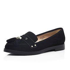 Black leather smart flat tassel loafers £45.00