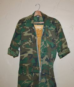 Vintage Jumpsuit Camo Coveralls Military by founditinatlanta