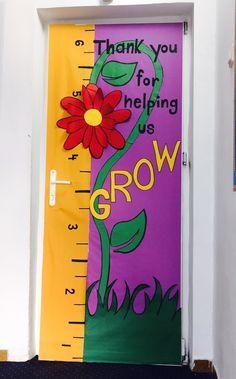 Thank you for helping us grow.!! Bulletin boards, spring , kindergarten, school, preschool, flower, growing, help, Cambridge school of Bucharest, kids, students. Classroom door decorations