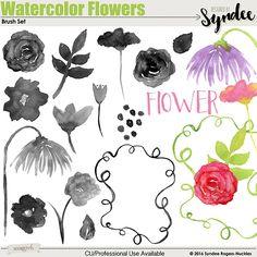 Watercolor Flowers digital brush set
