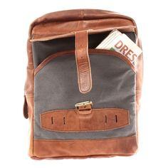 LECONI Freizeitrucksack Crossbag Rucksack Damen Herren Leder Canvas grau LE1012