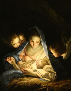 Madonna Painting - Holy Night by Carlo Maratta A Child Is Born, Mother And Child, Catholic Art, Religious Art, Mama Mary, Blessed Mother Mary, Divine Mother, Mary And Jesus, Jesus And Mary Pictures