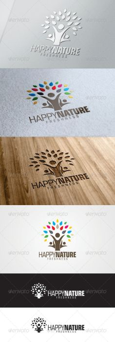 Happy Nature Tree Logo Template - Nature Logo Templates