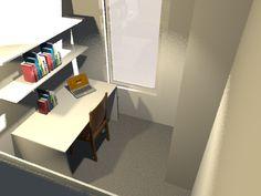3D impressie van de kamer. www.koppiggemaakt.nl