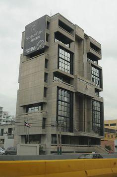 A fine example of Brutalist Architecture: Corominas Pepin Building designed by Leopold Franco Y Jose Mella (1985)
