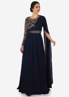 Navy blue gown in fancy sleeve and sheer net with embroidered bodice only on Kalki Indian Wedding Gowns, Indian Gowns Dresses, Indian Fashion Dresses, Indian Designer Outfits, Fancy Dress Design, Stylish Dress Designs, Designs For Dresses, Stylish Dresses, Designer Party Wear Dresses
