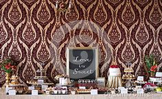 Candybar with tarts, chocolate, cakes, minicheesecake and other sweet thing. A special wedding. Chocolate Cakes, Tarts, Candy, Stock Photos, Mirror, Sweet, Frame, Flowers, Blue