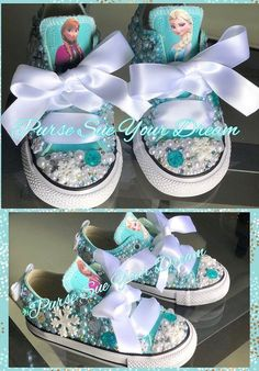 Frozen Inspired Custom Converse Shoes - Frozen Birthday - Frozen Shoes - Frozen Outfit - Mommy and Me Shoes - Personalized Shoes Frozen Birthday Outfit, Frozen Birthday Shirt, Frozen Themed Birthday Party, Disney Frozen Birthday, 4th Birthday Parties, Carnival Birthday, Frozen Birthday Centerpieces, 5th Birthday, Frozen Party Food