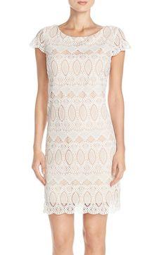 Eliza J Scalloped Lace Sheath Dress (Regular & Petite)