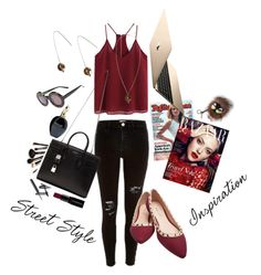 """Street style inspiration.Red is always a good choice"" by vvoskolup ❤ liked on Polyvore featuring River Island, Wet Seal, Yves Saint Laurent, Smashbox, Borghese, Roberto Cavalli, Monki, Fendi, Wildfox and women's clothing"
