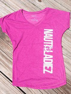 Nauti Ladiez Raspberry V-Neck T-Shirt