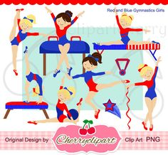 Red and Blue Gymnastics Girls Digital Clipart Set  for -Personal and Commercial Use-paper crafts,card making,scrapbooking,web design. $4.50, via Etsy.