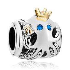8a80b847a Two Toned Octopus w Crown European Charm | Authentic Pugster | Silver &  Gold w Blue Crystal Eyes Ocean Spacer Bead for Bracelet or Necklace