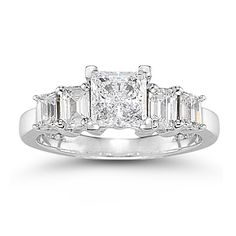 How about this for an engagement ring? Princess cut diamonds, all platinum and made in America!