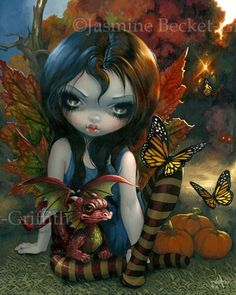 Summer Fairy by Jasmine Becket-Griffith - the Four Seasons - fairy artwork featuring Summer the Owl Fairy - firefly art - big eye new contemporary art