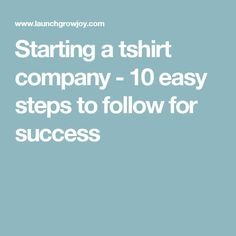 Starting a tshirt company - 10 easy steps to follow for success - Tap the link now to Learn how I made it to 1 million in sales in 5 months with e-commerce! I'll give you the 3 advertising phases I did to make it for FREE!