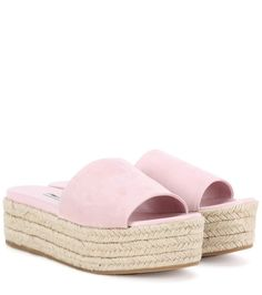 MIU MIU Suede Espadrille Sandals. #miumiu #shoes #sandals