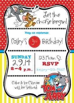 Tom & Jerry Themed Birthday Party by RAWkonversations on Etsy, $12.00