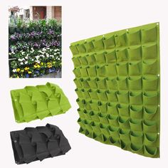 72 Pocket Hanging Garden Planting Bag Wall Vertical Greening Outdoor Green/Black