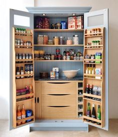 35 Fabulous Pantry Storage Ideas For Your Kitchen - You have to take it a bit slowly before choosing to do a whole kitchen remodel. Home improvement can be expensive, so it should not be rushed into. Kitchen Larder, Kitchen Pantry Design, Home Decor Kitchen, Interior Design Kitchen, Kitchen Furniture, New Kitchen, Kitchen Ideas, Kitchen Organization, Kitchen Cabinets
