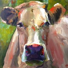Cow Painting  Natasha  14x14 Original Painting by CariHumphryArt, $185.00