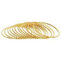 Gold Plated Zig Zag Design Thin Bangle Bracelet Set of 12