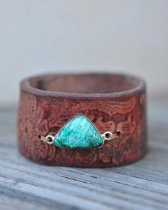 Boho Gemstone Bracelet Leather Bracelet Natural by HANKandANNIE