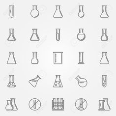 Flask icons set - vector linear laboratory glass or chemical test-tube symbol or logo element in thin line style Reklamní fotografie - 47686845
