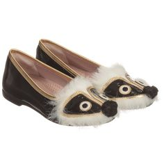 Gucci Girls Black Patent Leather Animal Face Shoes at Childrensalon.com