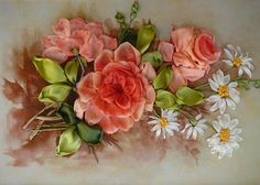 Peach roses and daisies ribbon embroidery