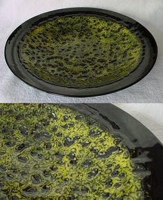 yellow lace made with clear & yellow frit then fused to a black bowl. Great instructions