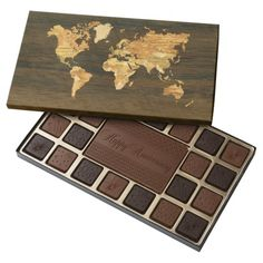 Wooden World Map 45 Piece Assorted Chocolate Box Chocolate World, Chocolate Gifts, Chocolate Box, Sweets Photography, Happy New Year 2020, Merry Christmas And Happy New Year, Christmas Baubles, Cat Gifts, Box Design