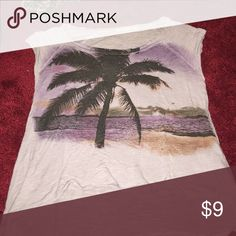 Purple Palm tree shirt Beautiful beach scene shirt *purple* Forever 21 Tops Tees - Short Sleeve