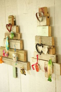 wood trees and tiny little 'ornaments'