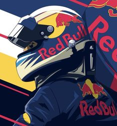 Sport is lifre Red Bull F1, Red Bull Racing, F1 Racing, Daniel Ricciardo, Helmet Design, Automotive Art, Vintage Racing, Illustrations And Posters, Formula One