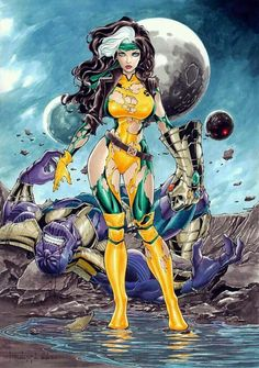 Rogue vs Thanos by Rubismar da Costa Not even Thanos and his so called powers could defeat the gorgeous absorber RogueGoddess Marvel Dc Comics, Anime Comics, Heros Comics, Marvel Vs, Marvel Heroes, Comic Book Characters, Marvel Characters, Comic Character, Comic Books Art