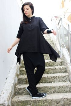 Black linen Shirt/ Loose Fitting Linen/Linen Oversize Tunic/ Soft Linen Tunic / Linen Shirt /  by Fraktura B0017