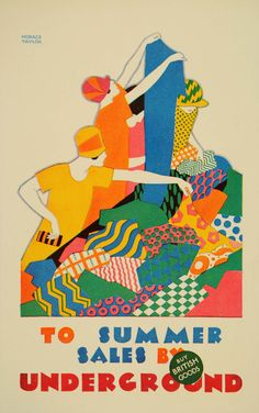 1926 Art Deco photo-lithograph mini poster of a London Underground poster by Horace Taylor