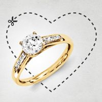 Classic style engagement ring available in yellow or white gold