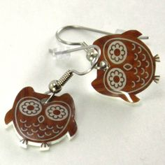 Brown Retro Owl Earrings
