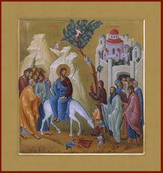 Entry into Jerusalem / Palm Sunday Byzantine Icons, Byzantine Art, Religious Icons, Religious Art, Church Icon, Roman Church, Christian Artwork, Life Of Christ, Catholic Art